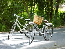 Two bicycles on local road Royalty Free Stock Photos