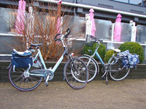 Two bicycles near the outdoor cafes. Stock Images