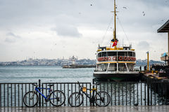 Two bicycles ner the pier of Kadikoy, Istanbul Royalty Free Stock Images
