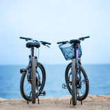 Two bicycles on the pier Royalty Free Stock Photo