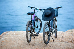 Two bicycles on the pier Stock Photos