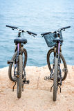 Two bicycles on the pier Royalty Free Stock Images