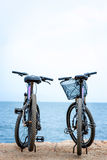 Two bicycles on the pier Royalty Free Stock Image