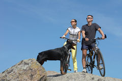 Two bicyclists Stock Photo