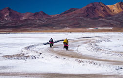 Two bicyclists going on road. Lake Las Salinas. Peru Stock Photos