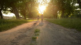 Two bicyclists riding on a dirt road stock video footage