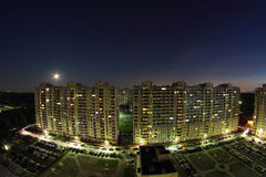 Two big apartment houses at night Royalty Free Stock Image