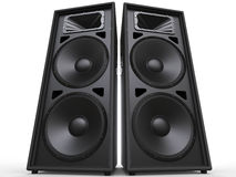 Two big black speakers - low angle shot Royalty Free Stock Photos
