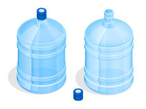 Two big bottles of water for delivery. Bottles of water isolated on a white background isometric illustration Royalty Free Stock Images