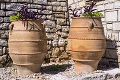 Two big ceramic flowerpot of ancient greek style Royalty Free Stock Images