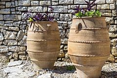 Two big ceramic flowerpot Royalty Free Stock Photos