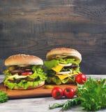 Two big cheeseburger deluxe Stock Photo