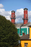 Two big chimney of brewery Royalty Free Stock Image