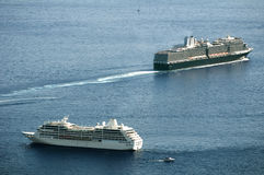 Two big cruise ships. In Monaco bay Royalty Free Stock Photos