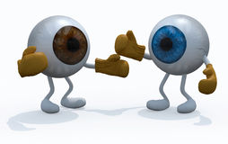 Two big eyeball with boxing gloves in a fight Stock Photo
