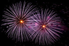 Two big fireworks Stock Photography