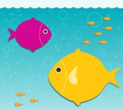 Two big fish in the water. Vector applique Royalty Free Stock Photo