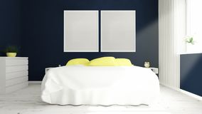 two big frames on a bedroom Stock Photos