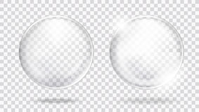 Two Big Glossy White Transparent Glass Sphere With Glares And Shadow. EPS10 Vector Stock Photo