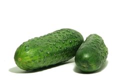Two Big Green cucumber. On a white background royalty free stock photography