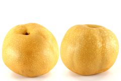 Two Big Japanese Snow Pear Royalty Free Stock Images
