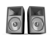 Two big loudspeakers. Pair of big loudspeakers on white background stock illustration