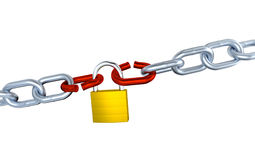 Two Big Metallic Chains with Two Stressed Link Locked with a Padlock Royalty Free Stock Image
