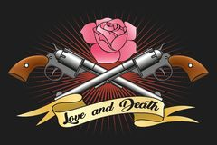Love and Death Emblem. Two big old revolvers, pink rose and ribbon with lettering love and death. Vector illustration royalty free illustration