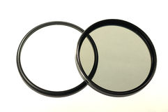 Two big photo-filters for lens. Over white Royalty Free Stock Photos