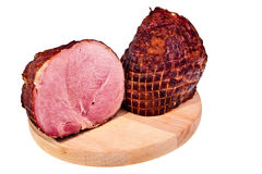 Two big pieces of smoked ham. Stock Images