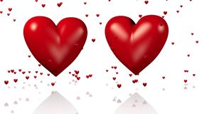 Two Big Red Beating Hearts with Golden Arrows Passing Through with Tiny Hearts Raining stock footage