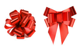 Two big red bows. Isolated on a white background Stock Image