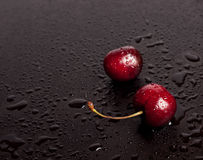 Two big red cherryes Stock Photo