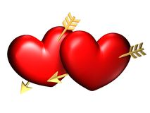 Two big red and chubby hearts. With golden arrows Royalty Free Stock Images
