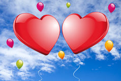 Two big red Hearts Royalty Free Stock Photo