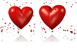 Two Big and Red Hearts with Lots of Tiny Hearts. With a White Background royalty free illustration