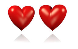 Two Big and Red Hearts. With White Background vector illustration