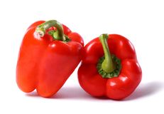 Two big red peppers Stock Photography
