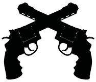Two big revolvers. Hand drawing of a black silhouette of two big revolvers Stock Images