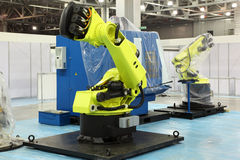 Two big robots for automotive industry royalty free stock photo