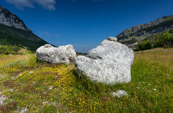 Two big rocks lying on meadow at mountains of Montenegro Stock Photo