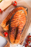 Two big salmon steaks Stock Photo