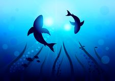 Two big sharks are circling under the water illuminated by sunlight and rays, bottom view with the bottom of the ocean. Realistic Vector Illustration stock illustration