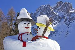 Two big snowmen at the Sexten Royalty Free Stock Images