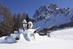 Two big snowmen. At the Sexten ski resort in Italy Royalty Free Stock Photography