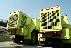 Two Big Trucks In Port Royalty Free Stock Images