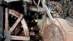 Two big water mills working fine stock video footage