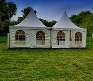 Two Big White Tents For Events Stock Images