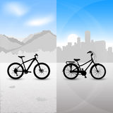 Two bike. On the city and mountain landscape Royalty Free Stock Images