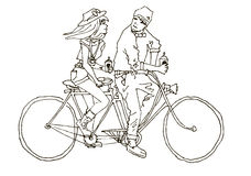 Two on the bike and coffee. tandem. Boy and girl lovingly look at each other. They ride on the bike - tandem. In the hands of their coffee Stock Photography